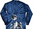 Wolves Howling at The Moon Bottom Print Long Sleeve Tie Dye Shirt