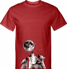 Wolves Howling at The Moon Bottom Print Mens Tall Shirt