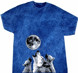 Wolves Howling at The Moon Bottom Print Mineral Tie Dye Shirt