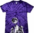 Wolves Howling at The Moon Bottom Print Spider Tie Dye Shirt
