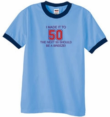 50th Birthday Shirt I Made It To 50 Ringer Shirt Carolina Blue/Navy