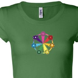 7 Chakra Circle Ladies Yoga Shirts