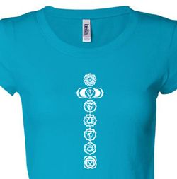 7 Chakras White Print Ladies Yoga Shirts