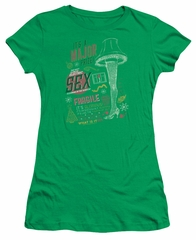 A Christmas Story Juniors Shirt Its A Major Prize Kelly Green T-Shirt
