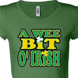 A Wee Bit Irish Shamrock Ladies Shirts