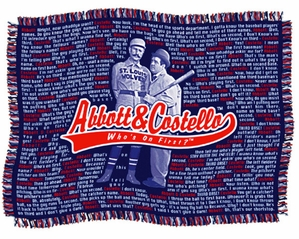 Abbot & Costello Throw Rug Who's On First Words
