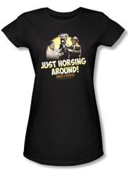 Abbott & Costello Juniors Shirt Horsing Around Black Tee T-shirt