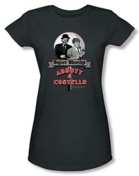 Abbott & Costello Juniors Shirt Super Slueths Charcoal Tee T-shirt
