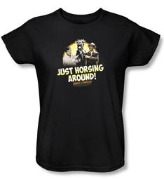 Abbott & Costello Ladies Shirt Funny Horsing Around Black Tee T-shirt