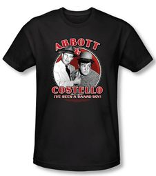 Abbott & Costello Shirt Funny Bad Boy Black Slim Fit Tee T-Shirt