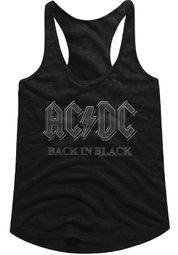 AC/DC Juniors Tank Top Back In Black Black Racerback