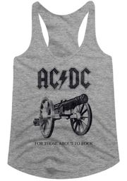 AC/DC Juniors Tank Top For Those About To Rock Athletic Heather Racerback