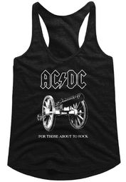 AC/DC Juniors Tank Top For Those About To Rock Black Racerback