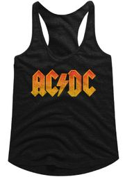 AC/DC Juniors Tank Top Orange Band Logo Black Racerback