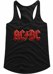 AC/DC Juniors Tank Top Red Band Logo Black Racerback