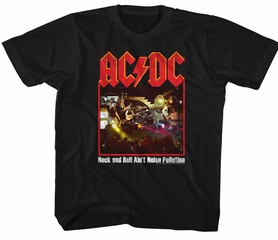 AC/DC Kids Shirt Rock And Roll Ain't Noise Pollution Black T-Shirt