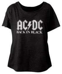 AC/DC Ladies Shirt Back In Black Dolman Black T-Shirt