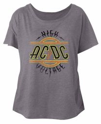 AC/DC Ladies Shirt High Voltage Dolman Athletic Heather T-Shirt