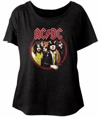 AC/DC Ladies Shirt Highway To Hell Black Dolman T-Shirt