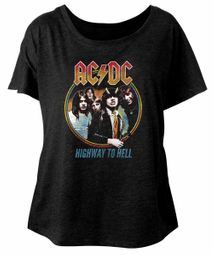 AC/DC Ladies Shirt Highway To Hell Dolman Black T-Shirt
