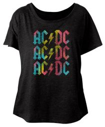 AC/DC Ladies Shirt Multicolor Band Logo Dolman Black T-Shirt