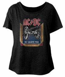AC/DC Ladies Shirt We Salute You Dolman Black T-Shirt