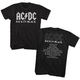 AC/DC Shirt Back In Black Album Black T-Shirt