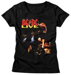 AC/DC Shirt Juniors Live Black T-Shirt