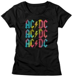 AC/DC Shirt Juniors Multicolor Band Logo Black T-Shirt