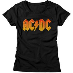 AC/DC Shirt Juniors Orange Band Logo Black T-Shirt