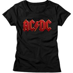 AC/DC Shirt Juniors Red Band Logo Black T-Shirt