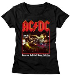 AC/DC Shirt Juniors Rock And Roll Ain't Noise Pollution Black T-Shirt