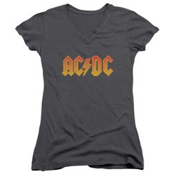 ACDC Juniors V Neck Shirt Logo Charcoal T-Shirt