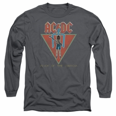 ACDC Long Sleeve Shirt Flick Of The Switch Charcoal Tee T-Shirt