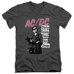ACDC Slim Fit V-Neck Shirt Dirty Deeds Charcoal T-Shirt