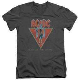 ACDC Slim Fit V-Neck Shirt Flick Of The Switch Charcoal T-Shirt