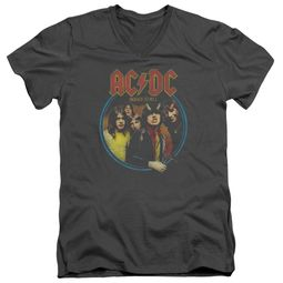 ACDC Slim Fit V-Neck Shirt Highway To Hell Charcoal T-Shirt