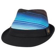 Adult Felt Fedora with Blue-Striped Print