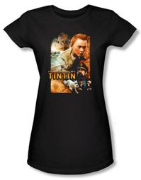 Adventures Of Tintin Juniors T-Shirt Adventure Poster Black Shirt