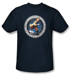 Adventures Of Tintin Kids T-Shirt Globe Youth Navy Blue Tee Shirt