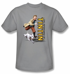 Adventures Of Tintin T-Shirt Come On Snowy Silver Adult Tee Shirt