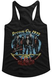 Aerosmith Juniors Tank Top Dream On 1973 Black Racerback