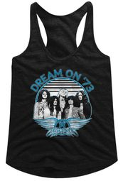 Aerosmith Juniors Tank Top Dream On '73 Black Racerback
