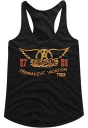 Aerosmith Juniors Tank Top Permanent Vacation Tour 87-88 Black Racerback