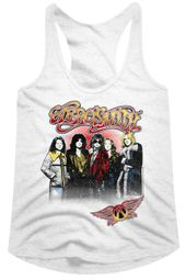 Aerosmith Juniors Tank Top Rock Band Group Photo White Racerback
