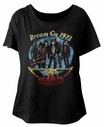 Aerosmith Ladies Shirt Dream On 1973 Black Dolman T-Shirt