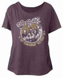 Aerosmith Ladies Shirt Get Your Wings US Tour 1974 Purple Dolman T-Shirt