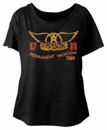 Aerosmith Ladies Shirt Permanent Vacation Tour 87-88 Black Dolman T-Shirt