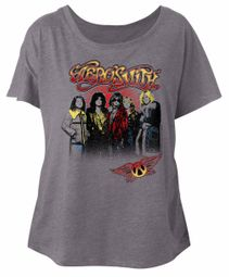 Aerosmith Ladies Shirt Rock Band Group Photo Grey Dolman T-Shirt