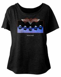 Aerosmith Ladies Shirt Rocks Black Dolman T-Shirt
